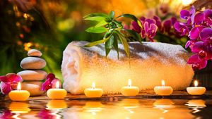 Spa decoration with candle
