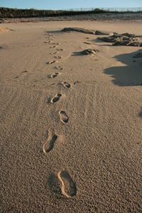 Footsteps at beach France