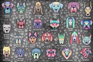 Types of Dogs Art (Dark Background)