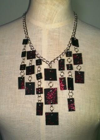 Red Glitter Tile Necklace - Ona By Design