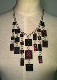 Red Glitter Tile Necklace
