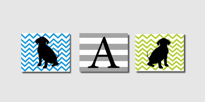 Three Chevron Striped puppy prints - Steffany Segar Designs