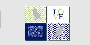 Four 8x10 Chevron Dog Prints
