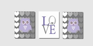Three Lilac Gray Owl Prints