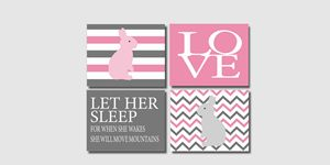 Four pink grey striped bunny prints