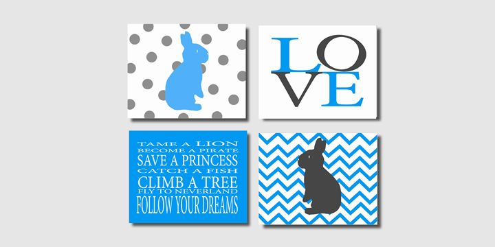 Turqoise and gray bunny prints - Steffany Segar Designs