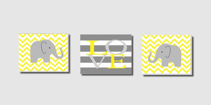 Yellow chevron elephant prints - Steffany Segar Designs