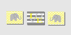 Yellow chevron elephant prints