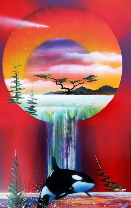 Red sunset world within a world orca - Robin Seagrave