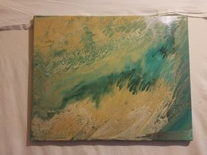 Gold, teal and blue wall art