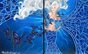 Blue Butterfly and Woman Diptych