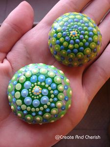 Dot Art painted stones, Set of two