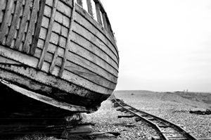 Abandoned boat and haul tracks
