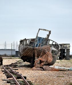 abandoned fishing boat and nets