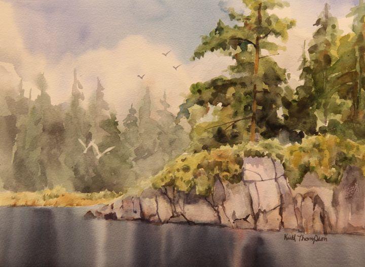 Rainy Lake Rocks - keiththompsonart