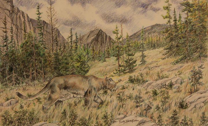 Mountain Lion on the Hunt - keiththompsonart