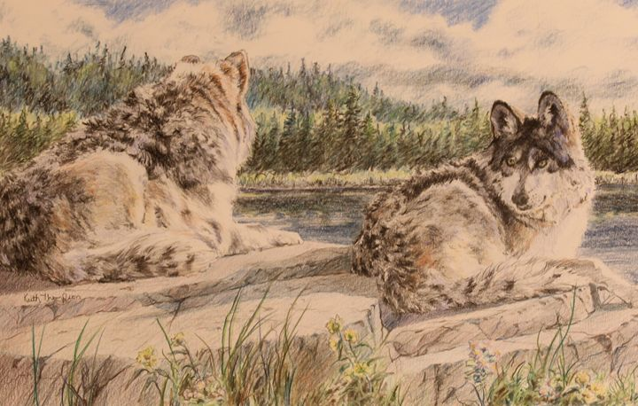 The Watchers - Two timberwolves - keiththompsonart