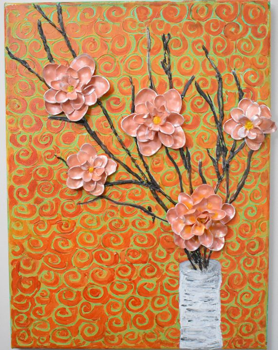 Camellias in Birch Vase - Paintings