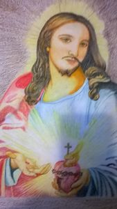 Painting of Jesus with sacred heart