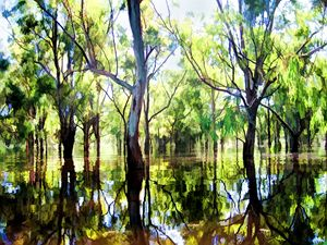 River trees in flood