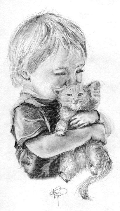 Boy and His Kitten - AK Arts
