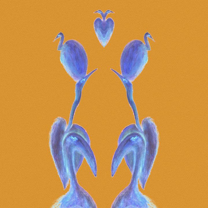 Egrets Mirrored on Orange Square - Geckojoy