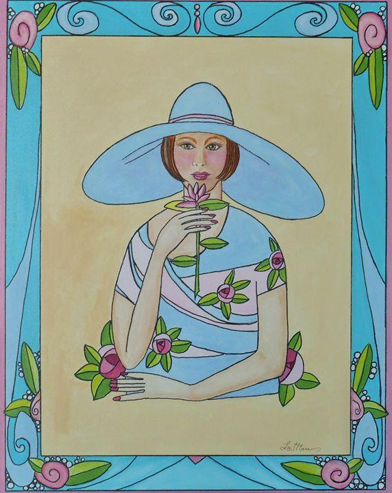 Lady with the Blue Hat - La Marr Kramer's Fine Art Gallery
