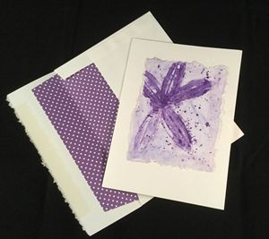 Purple Leaf Print Watercolor Card