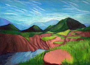 Acrylic Mountain Landscape