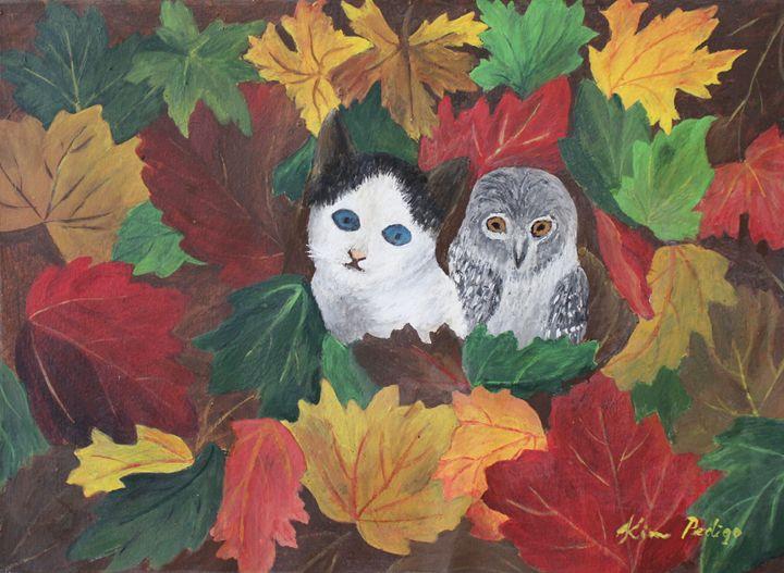 Pussycat and Owl in Autumn Leaves - KimPedigo'sArts