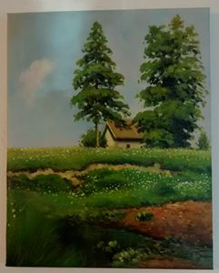 Small Hut in a Meadow (Oil Replica)