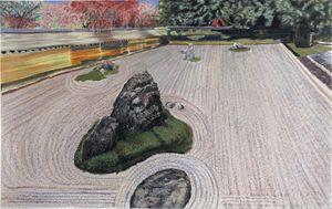 Ryuanji Rock Garden, Kyoto,  Japan