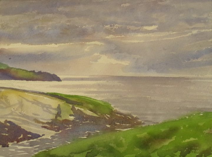 a cloudy sunset in Comillas's coast - jose perlado-watercolors