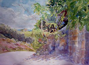 the door of a palace - jose perlado-watercolors