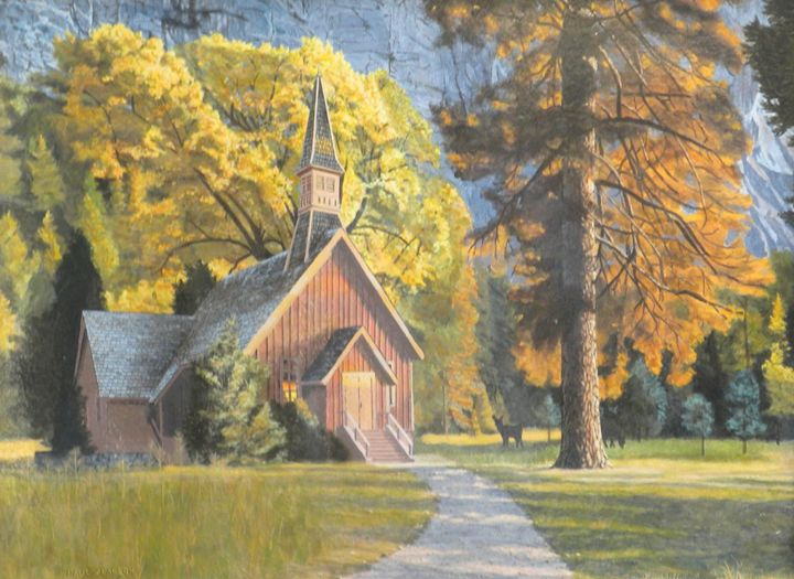Deer at Yosemite Chapel - Paul Larson's Artwork