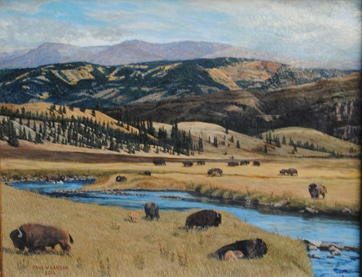 Buffalo by a stream - Paul Larson's Artwork
