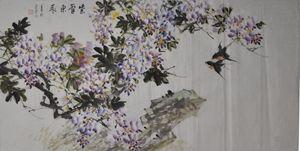 purplevine and birds
