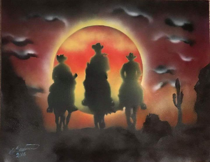 The Cowboys Ride at Dusk - Twisted X-Pressions