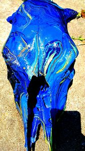 Hydro-Swirl Dipped blue cow skull