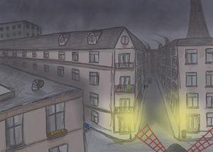 Gloomy Paris at night