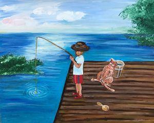 Boy is fishing, cat is sleeping - Alina Morozova