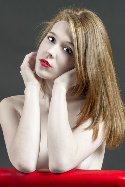 Beautiful white woman on red chair - Freebilly Photography Portland