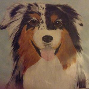 Happy Australian dog - Personalized pet art