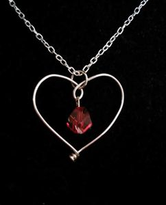 Crystal wire heart necklace