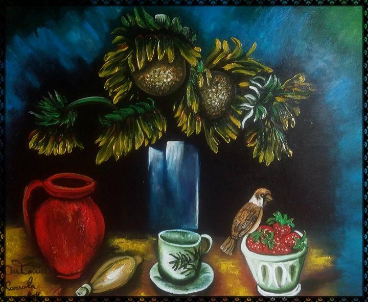 girasoli e uccello - gallery store originale dipinti