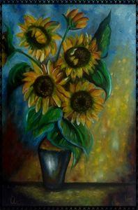 girasoli nella luce del sole - gallery store originale dipinti