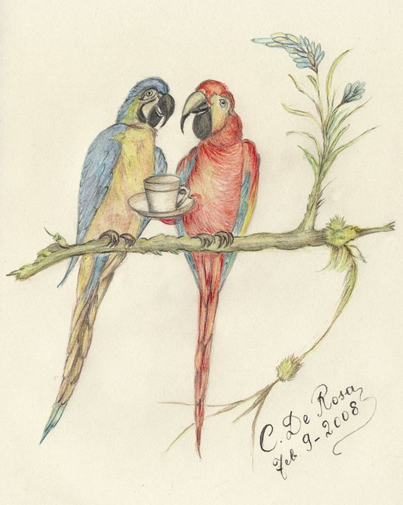 Birds having coffee - Caterina DeRosa Gallery