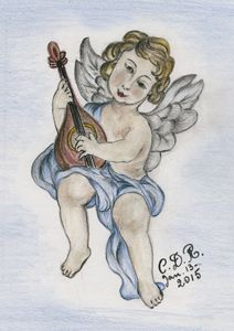 Angel playing mandolin