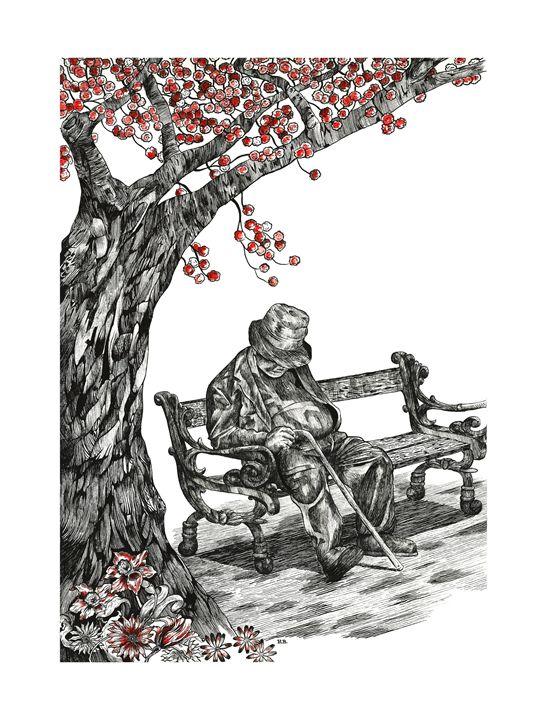 Man under a tree - MoodswingsPrints