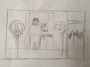 Banksy Riot PoliceOriginal drawing